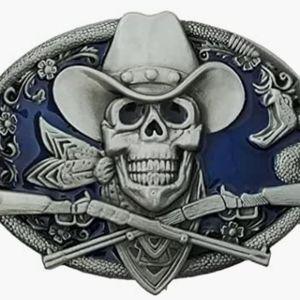 "Skeleton cowboy belt buckle approximately 4"""
